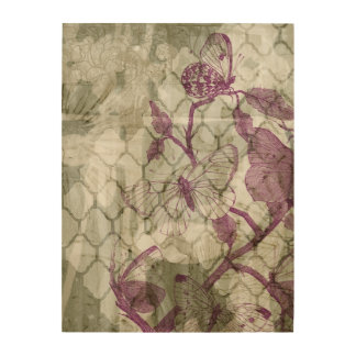 Impression Sur Bois Papillons d'arabesque IV