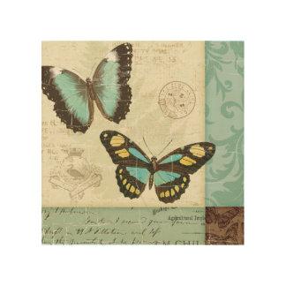 Impression Sur Bois Patchwork de papillon