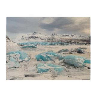 Impression Sur Bois Paysage de glace de glacier, Islande