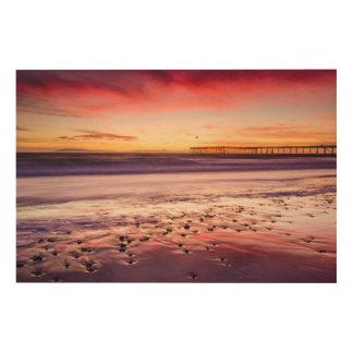 Impression Sur Bois Paysage marin et pilier au coucher du soleil, CA