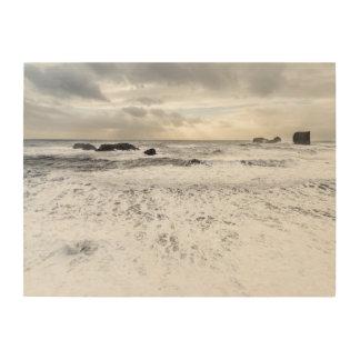 Impression Sur Bois Paysage marin mousseux pâle d'océan, Islande