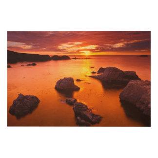Impression Sur Bois Paysage marin orange, coucher du soleil, la