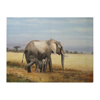 Impression Sur Bois Peinture à l'huile d'éléphant et de veau