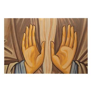 Impression Sur Bois Peinture des mains dans une église