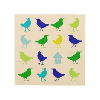 Impression Sur Bois Peinture des oiseaux colorés par Chariklia Zarris