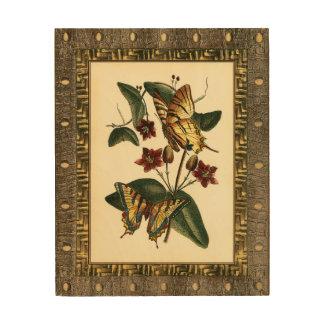 Impression Sur Bois Peinture encadrée des papillons et des fleurs