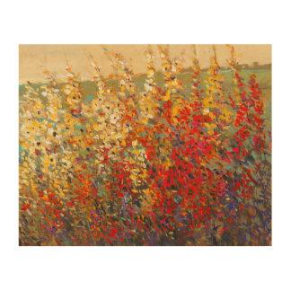 Impression Sur Bois Peinture murale lumineuse de jardin des fleurs