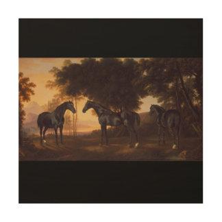 Impression Sur Bois Peinture vintage d'étalons noirs par George Stubbs
