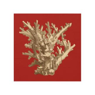 Impression Sur Bois Petit corail en rouge