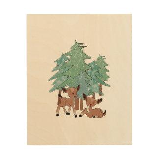 Impression Sur Bois Petits cerfs communs dans un paysage d'hiver