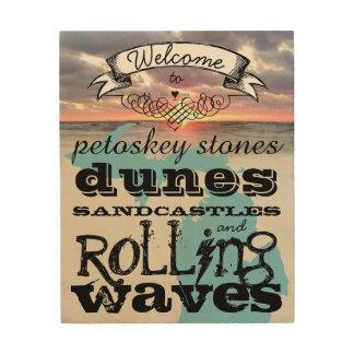 Impression Sur Bois Petoskey lapide des vagues de roulement de pâtés