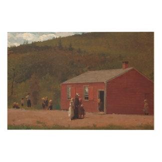Impression Sur Bois Peu d'école rouge Cabbin par Winslow Homer