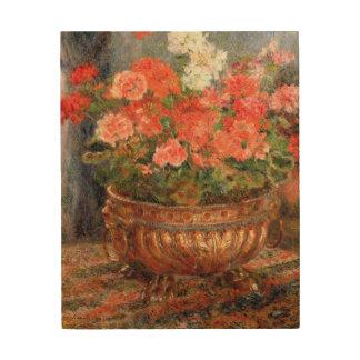 Impression Sur Bois Pierre géraniums de Renoir un   dans un bassin de