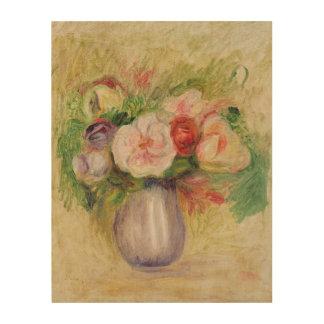 Impression Sur Bois Pierre un vase à Renoir   de fleurs