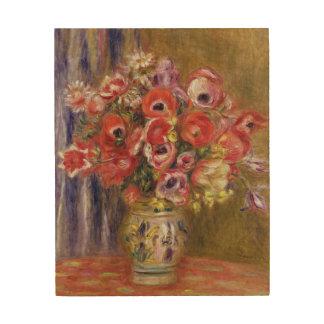 Impression Sur Bois Pierre un vase à Renoir   de tulipes et d'anémones