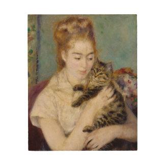 Impression Sur Bois Pierre une femme de Renoir   avec un chat
