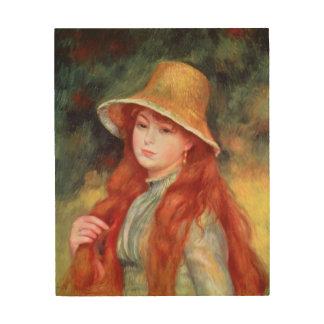 Impression Sur Bois Pierre une jeune fille de Renoir | dans un chapeau
