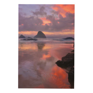 Impression Sur Bois Piles de plage et de mer de l'Orégon, coucher du