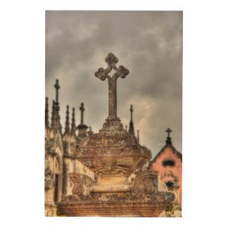 Impression Sur Bois Plan rapproché croisé de cimetière, Portugal