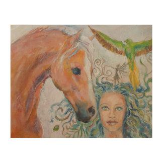 Impression Sur Bois Plaque en bois de cheval avec la femme, la fée et