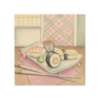 Impression Sur Bois Plat des sushi assortis avec des baguettes