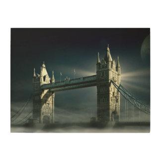 Impression Sur Bois Pont Londres de tour en brouillard de nuit