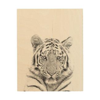 Impression Sur Bois Portrait noir et blanc de tigre