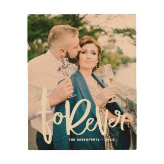 Impression Sur Bois Pour toujours photo en lettres de mariage de