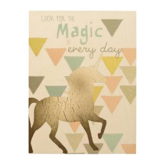 Impression Sur Bois Recherchez la licorne quotidienne magique d'or