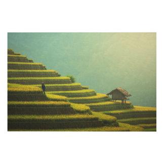 Impression Sur Bois Récolte de riz d'agriculture de la Chine
