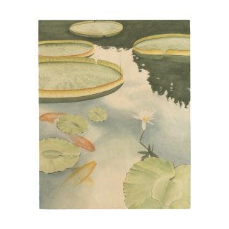 Impression Sur Bois Réflexion d'étang de Koi avec des poissons et des