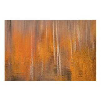 Impression Sur Bois Réflexions d'automne sur l'étang | Winthrop, WA de