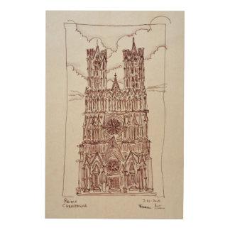Impression Sur Bois Région de la cathédrale | Champagne de Reims,