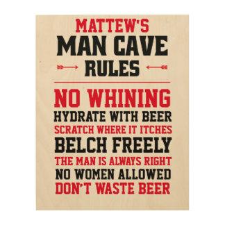 Impression Sur Bois Règles personnalisables de caverne d'homme