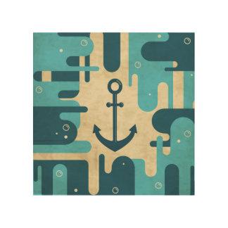 Impression Sur Bois Rétro conception nautique turquoise d'ancre