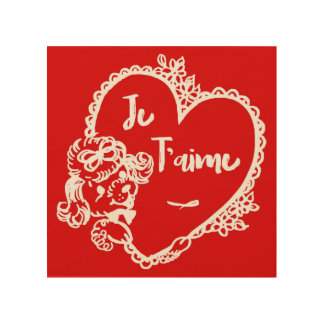 Impression Sur Bois Rétro rouge français mignon de Valentine de coeur