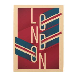 Impression Sur Bois Rétro typographie illustrée de Londres, Angleterre