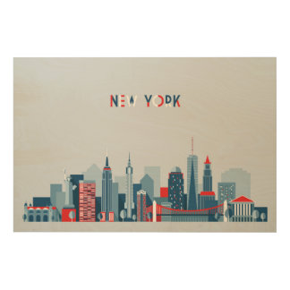 Impression Sur Bois Rouge, blanc et bleu de New York City  