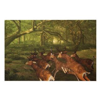 Impression Sur Bois Rouge-cerfs communs
