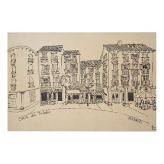 Impression Sur Bois Rue de achat de Calle De Toledo, Madrid, Espagne