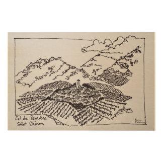 Impression Sur Bois Saint-Chinian de Col de la Ramiere  , Languedoc