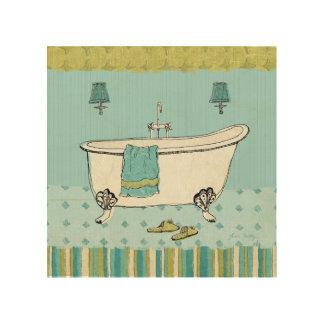 Impression Sur Bois Salle de bains bleue démodée