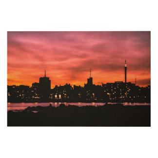 Impression Sur Bois Scène de coucher du soleil de paysage urbain,