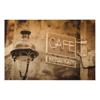 Impression Sur Bois Signe de café de sépia, Paris, France