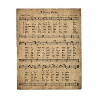 Impression Sur Bois Signe vintage en bois de musique de feuille