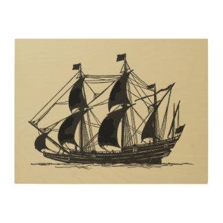 Impression Sur Bois Silhouette de bateau avec les voiles se