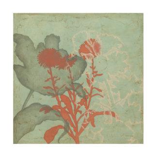 Impression Sur Bois Silhouette des fleurs rouges sur l'arrière - plan
