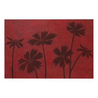 Impression Sur Bois Silhouettes de Flowerhead sur l'arrière - plan