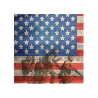 Impression Sur Bois Soldats simples et colorés et drapeau américain
