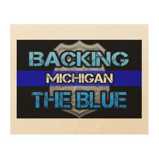 Impression Sur Bois Soutien de l'art bleu de mur du Michigan